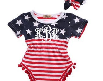 8a08ec709 monogrammed baby girl romper - red white and blue summer romper - 4th of  July Outfit - Fourth of July outfit - Memorial Day outfit