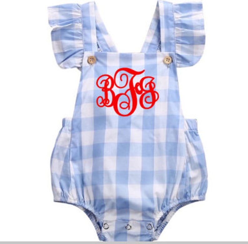 bf3c3737f Monogrammed baby girl romper blue and white checkered summer | Etsy