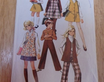 Vintage Children Simplicity Pattern #8377 Girls jumper/vest/skirt/pants 1969 Cut/complete