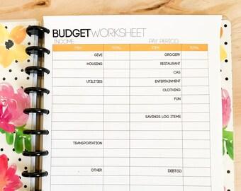 Budget Worksheet: Printable Monthly Budget Worksheet, INSTANT DOWNLOAD