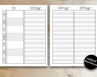 Meal Planner Printable - Meal Plan - Meal Planner and Grocery List - Instant Download