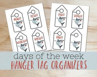 Closet Organization Printables - Shark themed Days of the Week Hanger Tags- INSTANT DOWNLOAD