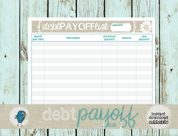 debt payoff list printable budgeting form for your budget etsy