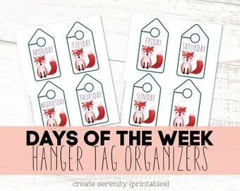 Printable Hanger Tag Organizers - Fox themed Days of the Week Hanger Tags- INSTANT DOWNLOAD