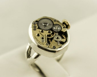 Sterling Silver Steam Punk Watch Movement Ring