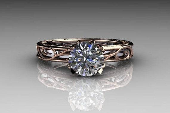 Tulip Engagement Ring With Wedding Band Insert Etsy
