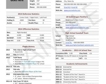 Baseball, Player Profile Template, Used for College Recruiting