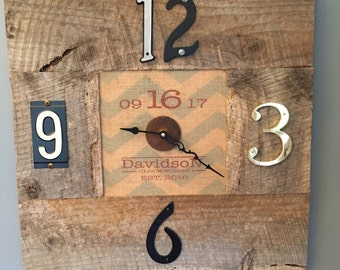 Rustic wedding date / last name Clock Made from Reclaimed Materials