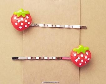 STRAWBERRY Fruit Food - Bobby PIn Hair Clip Accessory - Set of 2 Handmade