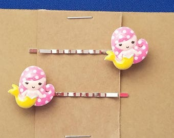 MERMAID with YELLOW TAIL Bobby PIn Hair Clip Accessory - Set of 2 Handmade