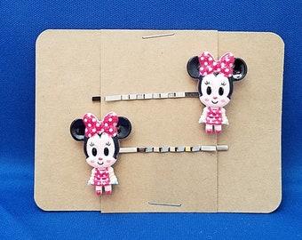 Alice Wonderland Cheshire Cat Animal-Handmade Bobby Pin clips cheveux-Lot de 2