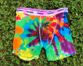 Get Your Greens Tie Dye Men/'s Underwear One of a Kind Fruit of the Loom Boxer Briefs Size 3XL