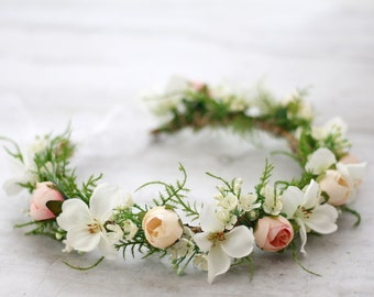 Pastel Flower Crown Floral Headband Flower Crown Peach Blush Headpiece Boho  Hippie Floral Crown Rustic Headband Bridal Crown Leaf Wreath 028beadac7d
