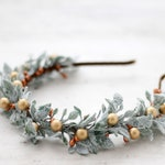 Gold berry headband, pip berry crown, winter floral crown, dusty miller greenery, forest fairy headband, woodland hair wreath