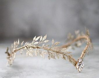Gold leaf diadem, elvish flower crown, elf headpiece, leaf fairy crown, gold elven crown, golden leaf tiara, glitter leaves crown