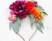 Frida Kahlo flower headband, colorful flower crown, large flower headpiece, tropical flower crown