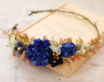 Navy Blue Gold Flower Crown 88a60a18a15