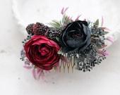 Burgundy flower comb wedding, deep bridal comb, rustic wedding hair comb, bridal flower headpiece