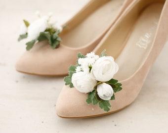 854e2ec36 Flower Shoe Clips - White Peonies