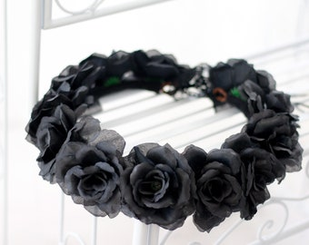 97edb3d7d7f8d Black Rose Hair Wreath