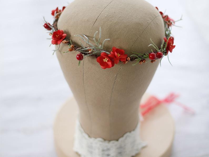 delicate flower headband bridesmaid floral crown Red flower crown bridal dainty wedding crown