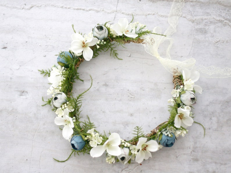 b3614a58782 Dusty Blue White Flower Crown Floral Headband Baby Blue
