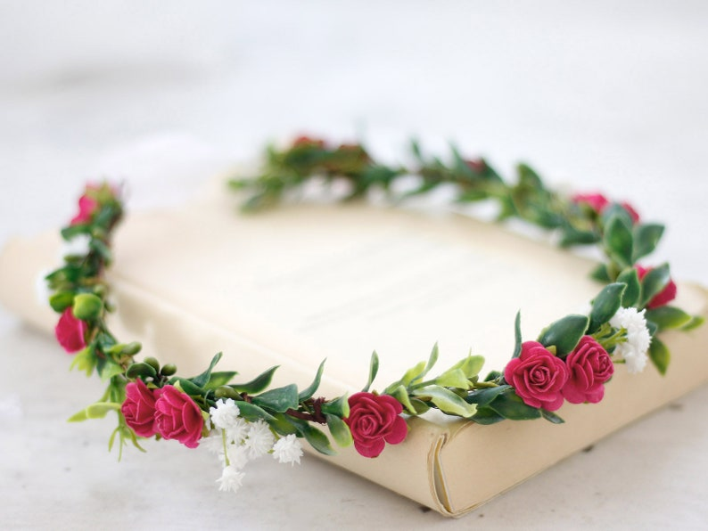 boho flower crown woodland flower crown flower girl crown Hot pink flower crown tie back flower crown fuchsia bridal flower head wreath