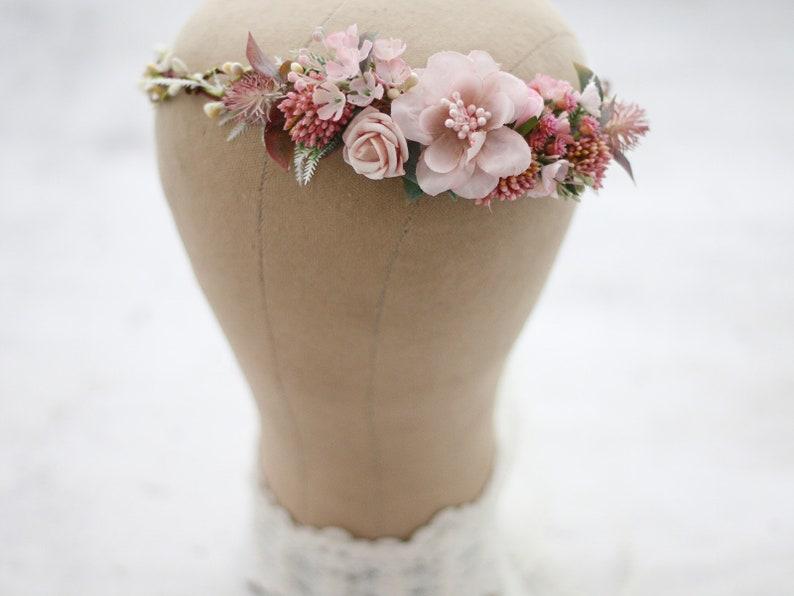 Dusty Pink Bridal Wreath Tie Back Flower Crown Mauve Flower Crown Wedding