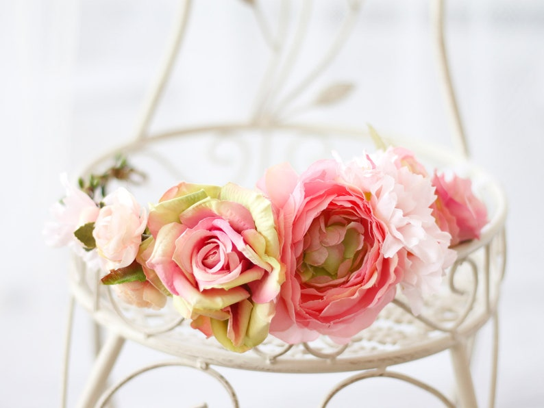 boho flower headband pink flower girl halo hair crown wedding Blush peony flower crown