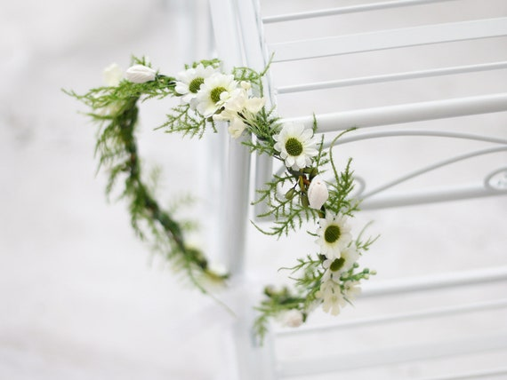 Couronne De Fleurs Mariage Blanche Couronne De Fleurs Cheveux Etsy