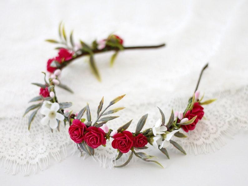 boho bride crown rustic bridal crown flower hair accessories Fuchsia flower crown wedding country floral headband