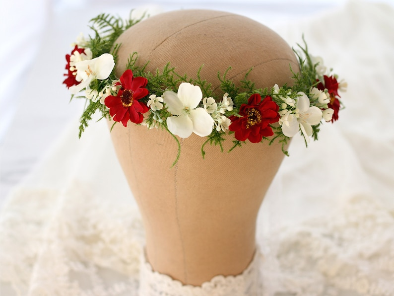 bridesmaid floral headband red white flower girl halo Burgundy flower crown for wedding bachelorette party headpiece