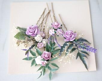 Purple hair pins for wedding, set floral hair pins, flower bobby pins, wedding hair pin, lavender bridesmaid hair pin