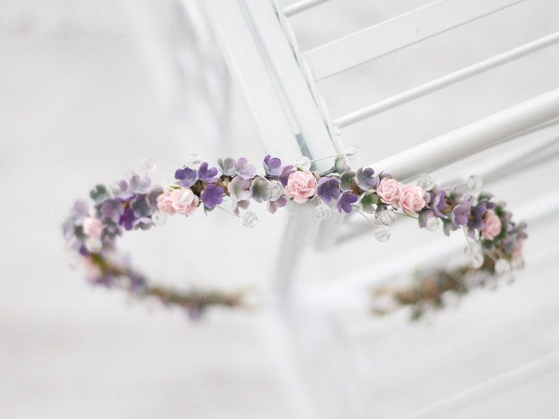 Bridal Flower Crown Halo Rustic Headband Crystal Flower Crown Blush Lavender Flower Crown Succulent Flower Crown Greenery Floral Crown