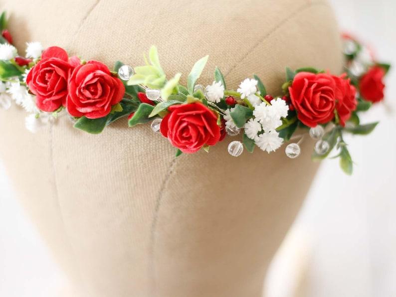 bridesmaid floral crown fern flower headband Red flower crown bridal dainty wedding crown