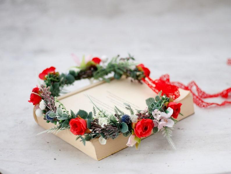 wild floral headband bride Red flower crown wedding