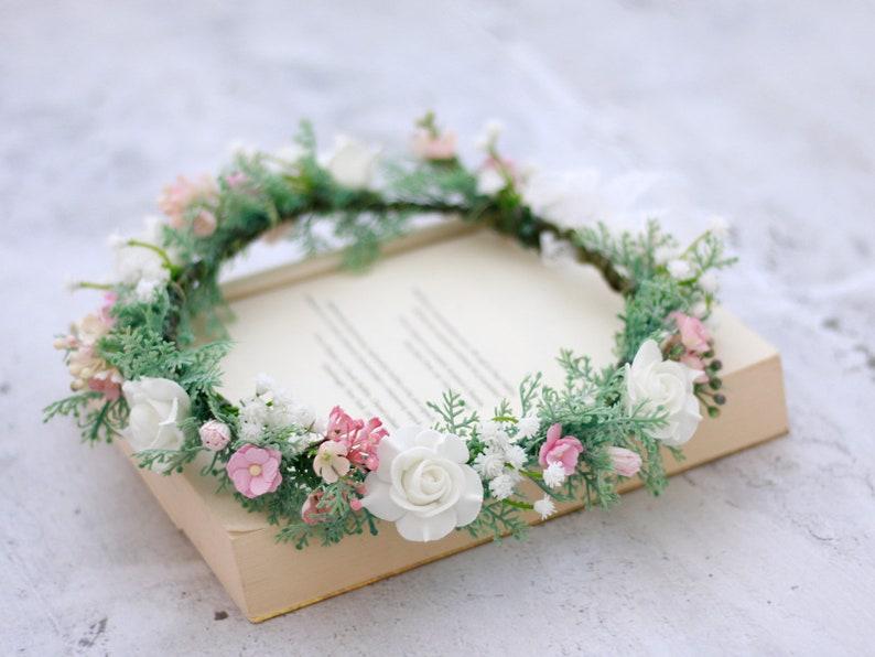 Wedding flower crown bridal hair wreath country bride boho head wreath dainty flower crown