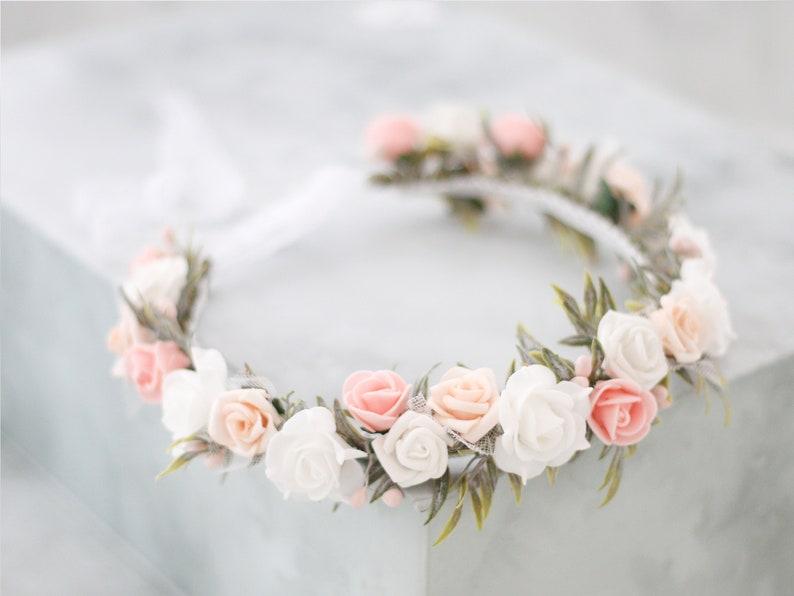 rustic floral headband bridal flower crown wreath white flower hair wreath flower girl halo Peach blush flower crown