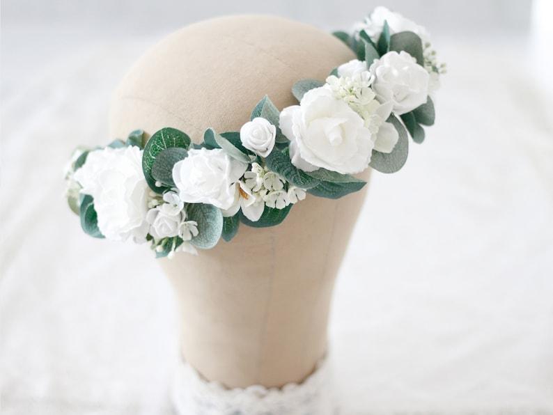 white rose flower crown White flower crown wedding silver dollar eucalyptus flower crown wedding floral crown