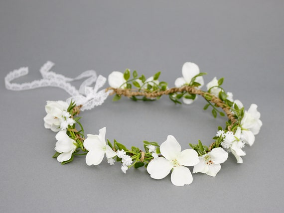 Dainty flower crown baby breath floral crown simple flower | Etsy