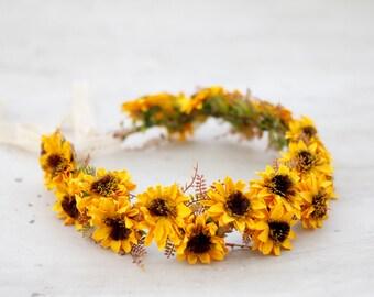 Sunflower Flower Crown, Yellow Hair Crown, Sunflower Bridal Headpiece, Sunflower Halo