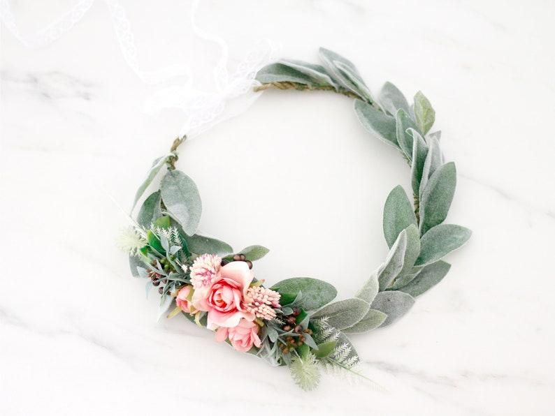 Eucalyptus flower crown for wedding green blush hair crown