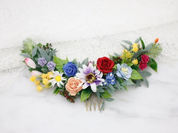 LGBT Accessories Festival Fashion Colourful Hair Comb Handcrafted Hair Accessories Pride Wedding Rainbow Bridesmaid Rainbow Hair Comb