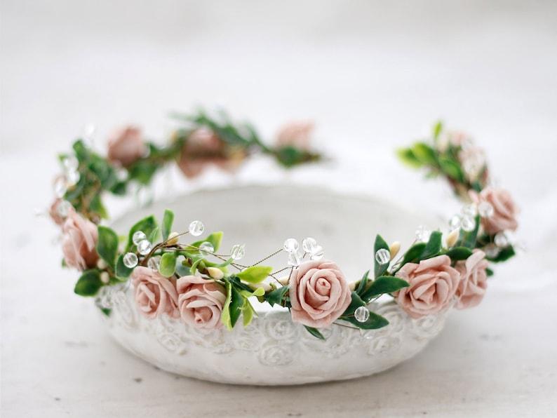 flower girl headband Dusty rose beige crown for wedding bridal hair crown