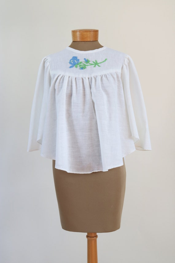 Vintage 70s Embroidered Peasant Top