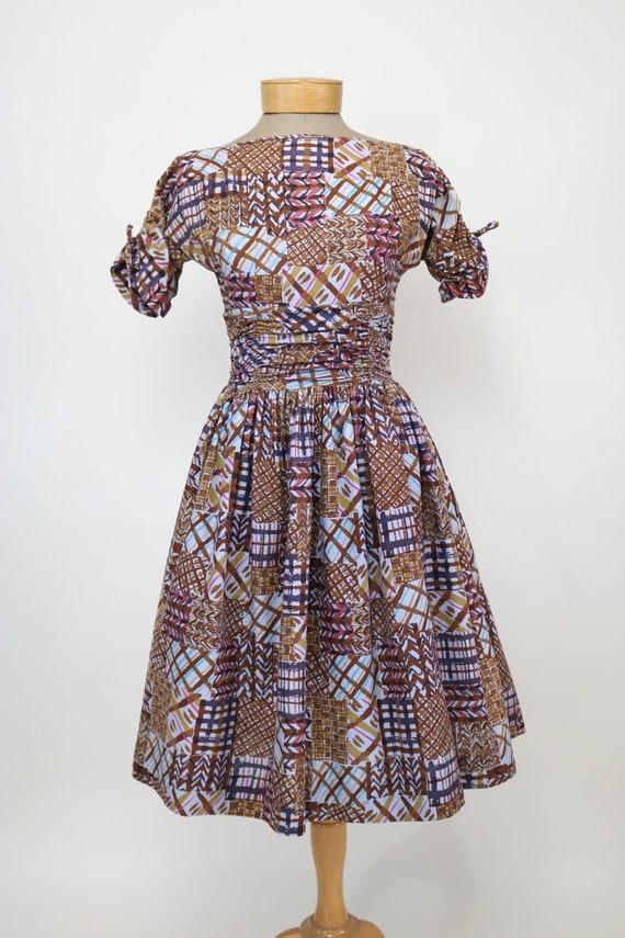 Vintage Abstract Print Dress