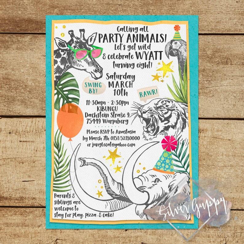 Party Animals Themed Birthday Invitation