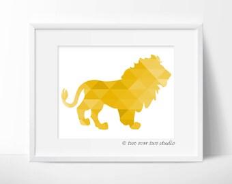 Yellow Lion Print, Triangle Geometric Wall Art,  Safari Nursery, Playroom Decor