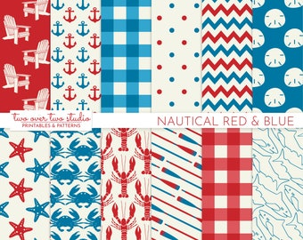 Red and Blue Nautical Digital Paper with Lobster, Shark, Oar, Patterns, 4th of July Background
