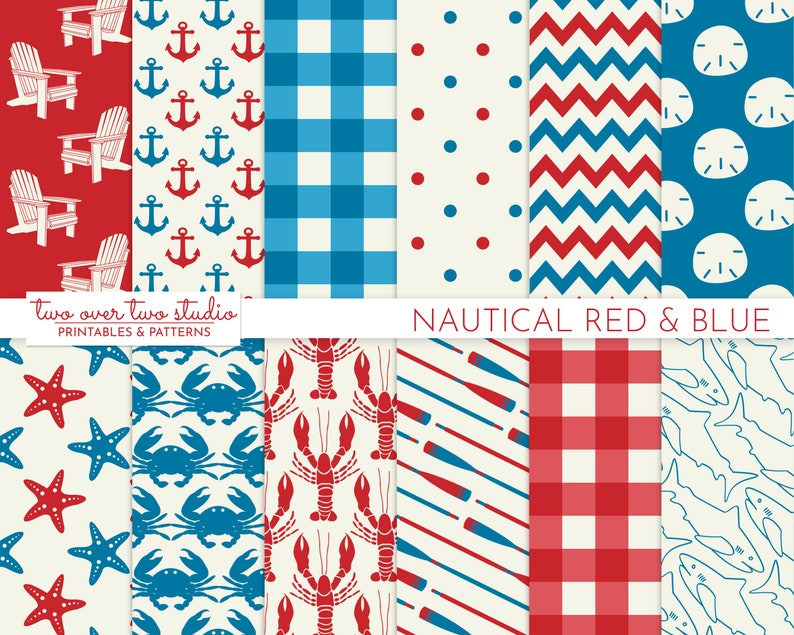 Red and Blue Nautical Digital Paper with Lobster Shark Oar image 0